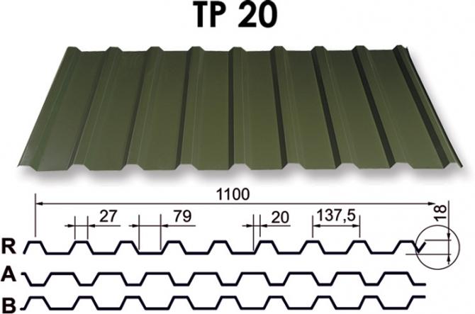 Metāla jumts TP 20 trapece (RR